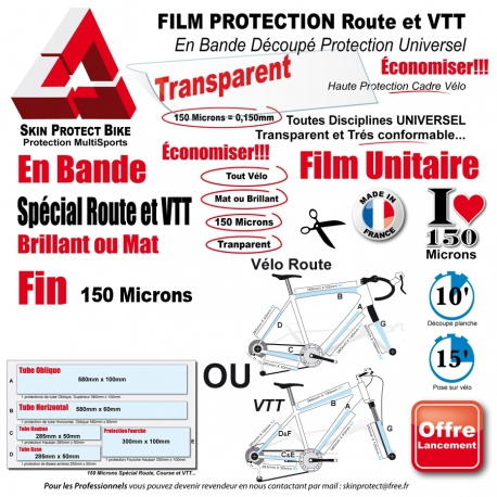 film protection cadre v lo route vtt 150 microns universel bande d coup. Black Bedroom Furniture Sets. Home Design Ideas