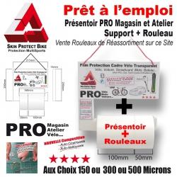 Présentoir PRO + Rouleau Film de Protection cadre Vélo Magasin Atelier