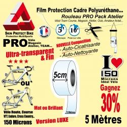 Rouleau Film Protection cadre Vélo 150 Polyuréthane 5cm Pro Atelier Mat ou Brillant