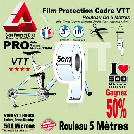 Rouleau Film Protection cadre VTT 500 Microns 5cm en rouleau PRO Brillant