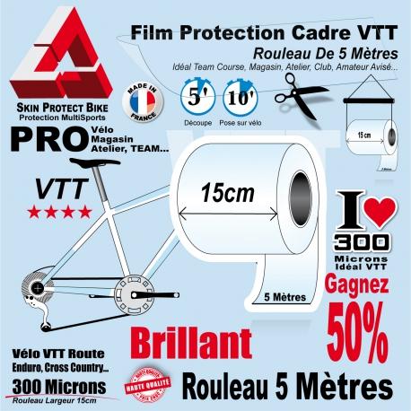 Rouleau Film Protection cadre VTT 300 Microns 15cm en rouleau PRO Mat ou Brillant