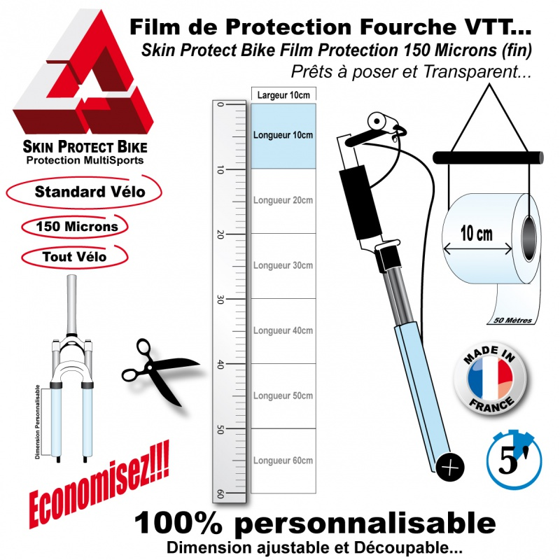 film de protection fourche vtt fin conomique en bande. Black Bedroom Furniture Sets. Home Design Ideas