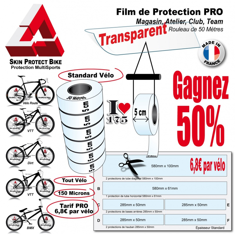 film de protection pro du cycle en rouleau 5cm v lo et bike. Black Bedroom Furniture Sets. Home Design Ideas