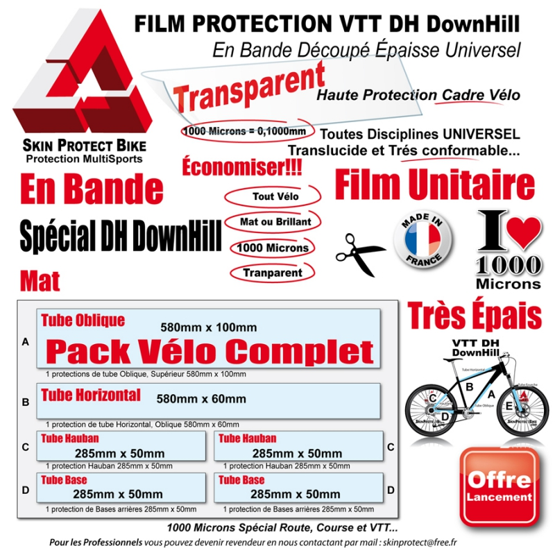 film protection vtt dh downhill cadre 1000 microns en. Black Bedroom Furniture Sets. Home Design Ideas