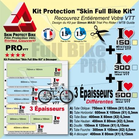 Kit Film Protection cadre VTT Complet Skin Full Bike Kit 3 épaisseurs PRO