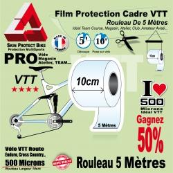 Rouleau Film Protection cadre VTT 500 Microns 10cm en rouleau PRO Brillant