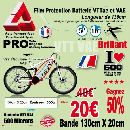 Film Protection Batterie Tube Oblique VTTae VTT électrique Brillant VAE